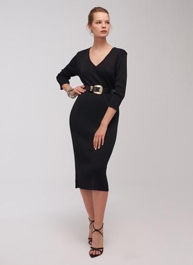 People By Fabrika Simli Elbise Siyah